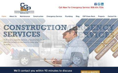 Screenshot of Home Page cgpconstruction.com - CGP Maintenance & Construction Services, Inc | Facilities Maintenance - captured July 8, 2017