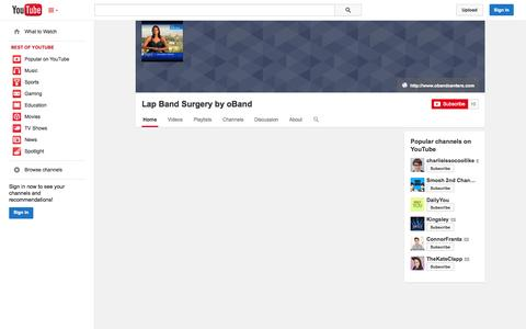 Screenshot of YouTube Page youtube.com - Lap Band Surgery by oBand  - YouTube - captured Oct. 27, 2014