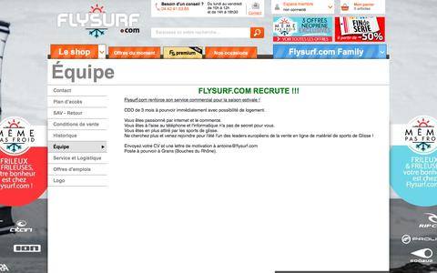 Screenshot of Team Page flysurf.com - Flysurf > Équipe - www.flysurf.com : 1er shop de kitesurf en Europe - captured Oct. 6, 2017