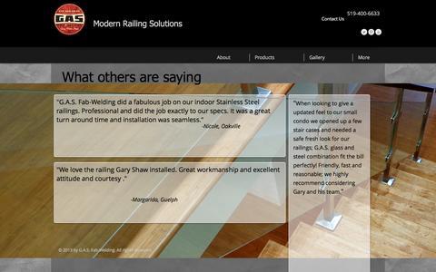 Screenshot of Testimonials Page gasfabwelding.com - modern stair railings  | Testimonials - captured May 11, 2017