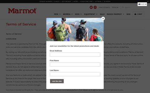 Screenshot of Terms Page marmotnz.co.nz - Terms of Service - Marmot NZ - captured Feb. 23, 2018