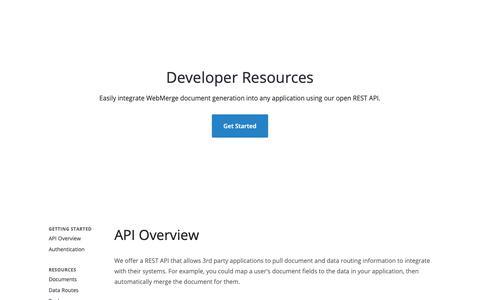 Screenshot of Developers Page webmerge.me - Developers - API Overview | WebMerge - captured May 17, 2019