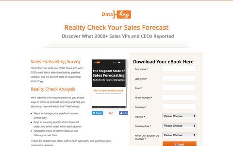 Screenshot of Landing Page datahug.com - Reality Check Your Sales Forecasting with Datahug - captured Dec. 6, 2016