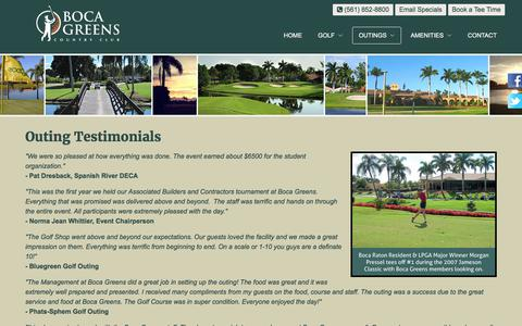 Screenshot of Testimonials Page bocagreenscountryclub.com - Boca Greens Country Club | Public Championship Florida Golf Course - Outing Testimonials - captured June 2, 2017