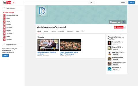 Screenshot of YouTube Page youtube.com - dentalbydesignaz's channel  - YouTube - captured Nov. 3, 2014