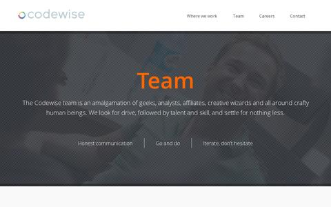Screenshot of Team Page codewise.com - Codewise - Meet our team. - captured July 19, 2014