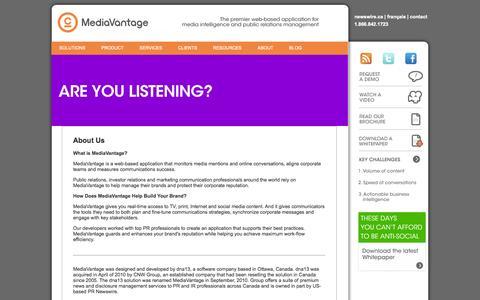 Screenshot of About Page dna13.com - About Us   Mediavantage - captured Sept. 15, 2014