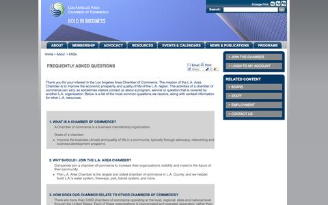 Screenshot of FAQ Page lachamber.com - Los Angeles Area Chamber of Commerce - about_faq - captured Sept. 23, 2014