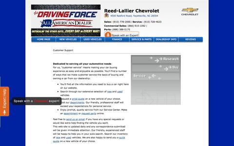 Screenshot of Support Page reedlallier.com - Customer Service Department from Reed-Lallier Chevrolet - captured Oct. 26, 2014