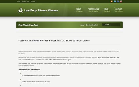 Screenshot of Trial Page leanbody-bootcamps.com - One-Week Free Trial –  LeanBody Fitness Classes | Garretson, SD & Edgerton, MN - captured Oct. 2, 2014
