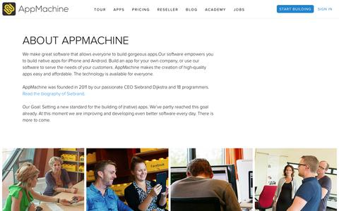 Screenshot of About Page appmachine.com - About AppMachine - AppMachine - captured Sept. 22, 2018