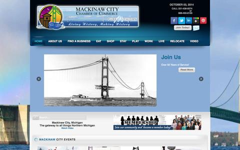 Screenshot of Home Page mackinawchamber.com - Mackinaw City Chamber of Commerce - captured Oct. 3, 2014