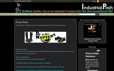 Screenshot of Privacy Page industrialposh.com - Privacy Policy Industrial Posh - captured Sept. 30, 2014