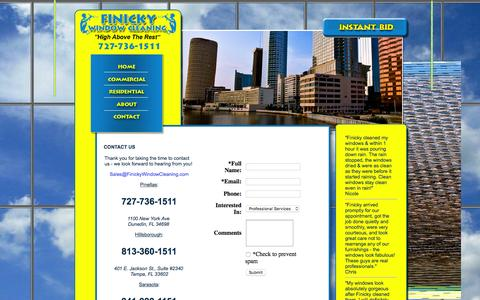 Screenshot of Contact Page finickywindowcleaning.com - Finicky Window Cleaning and pressure washing services for commercial and residential.  Serving Tampa Bay, Dunedin, Tampa, Clearwater, Oldsmar, Belleaire, Safety Harbor, West Chase, Tarpon Springs - captured Feb. 10, 2016