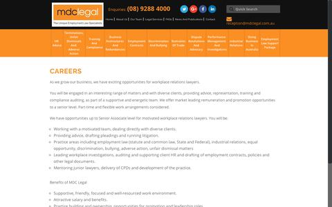 Screenshot of Jobs Page mdclegal.com.au - Careers - MDC Legal - Perth - captured Nov. 5, 2018
