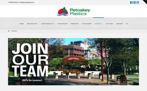 Screenshot of Jobs Page petoskeyplastics.com - Careers   Petoskey Plastics - captured July 17, 2018