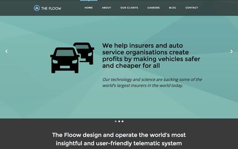 Screenshot of Home Page Menu Page thefloow.com - The Floow Limited - Cutting Edge Telematics Technology - Welcome - captured Oct. 9, 2014