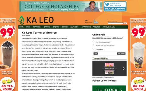 Screenshot of Terms Page kaleo.org - Ka Leo: Terms of Service - Ka Leo O Hawaii: Site - captured Feb. 12, 2016