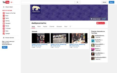 Screenshot of YouTube Page youtube.com - daddyscornerinc  - YouTube - captured Oct. 23, 2014