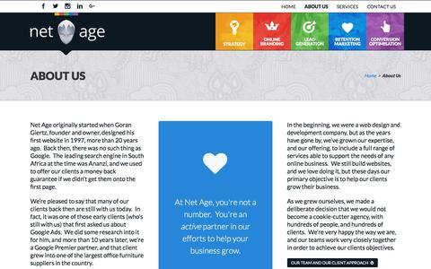 Screenshot of About Page netage.co.za - About Us - Net Age - captured Sept. 20, 2018