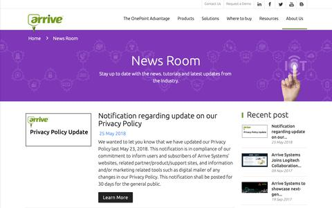 Screenshot of Press Page arrivesys.com - Meeting Room Booking | Panels | Manager | ai-av iot | av iot - captured Oct. 4, 2018