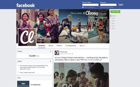 Screenshot of Facebook Page facebook.com - Classy.org - San Diego, CA - Startup | Facebook - captured Oct. 22, 2014