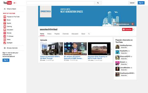 Screenshot of YouTube Page youtube.com - assotechlimited  - YouTube - captured Oct. 23, 2014