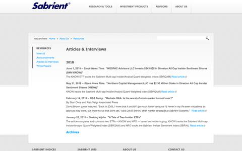 Screenshot of Press Page sabrientsystems.com - Articles & Interviews | Sabrient Systems - captured July 26, 2018