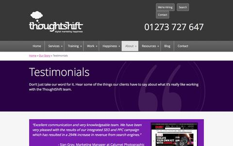 Screenshot of Testimonials Page thoughtshift.co.uk - Digital Marketing Testimonials & Reviews for ThoughtShift - captured June 26, 2017
