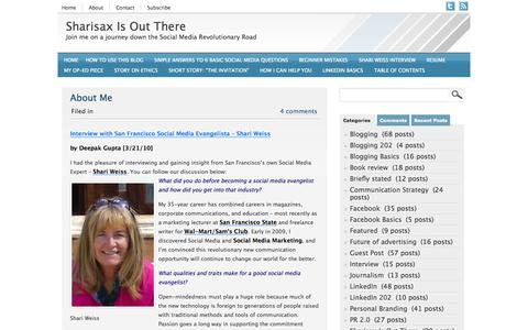 Screenshot of About Page sharisax.com - About Me | Sharisax Is Out There - captured Oct. 7, 2014