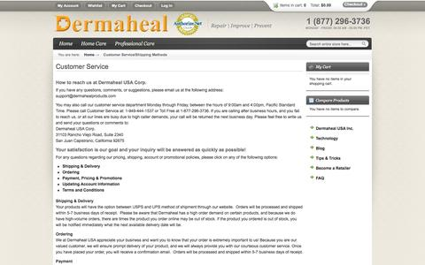 Screenshot of Support Page dermahealproducts.com - Dermaheal USA Inc. - Dermaheal Products to Repair | Improve | Prevent -  Customer Service/Shipping Methods - captured Oct. 5, 2014