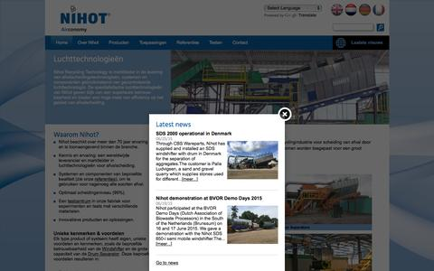 Screenshot of Home Page nihot.nl - Nihot Recycling Technology - captured Aug. 12, 2015
