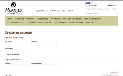 Screenshot of Signup Page morkeschocolates.com - Create New Customer Account - captured Oct. 26, 2014