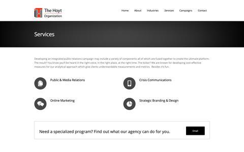 Screenshot of Services Page hoytorg.com - Services - The Hoyt Organization - captured Oct. 18, 2018