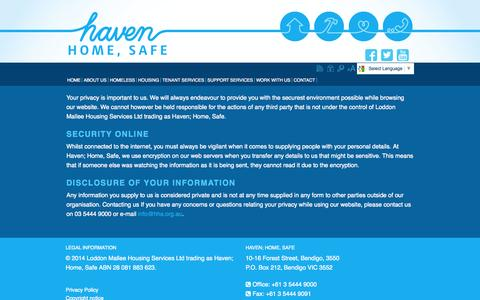 Screenshot of Privacy Page lmhs.com.au - privacy - captured Oct. 27, 2014