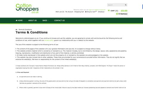 Screenshot of Terms Page cottonshoppers.co.uk - Terms & Conditions | Cotton Shoppers - captured April 16, 2016