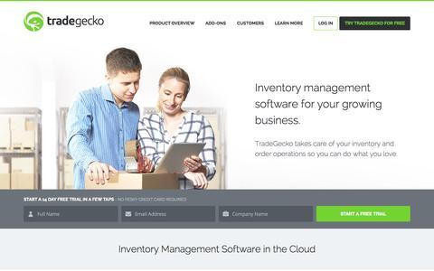 Screenshot of Home Page tradegecko.com - Inventory Management Software | TradeGecko - captured Oct. 1, 2015