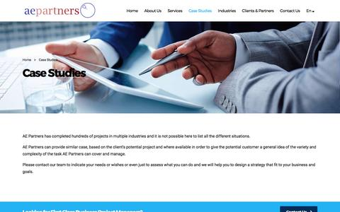Screenshot of Case Studies Page ae-partners.com - Case Studies – AE Partners - captured May 28, 2017