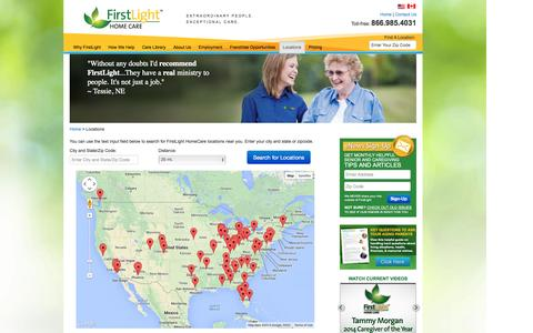 Screenshot of Locations Page firstlighthomecare.com - FirstLight Home Care Locations | Home Healthcare Agency - FirstLight HomeCare - captured Sept. 24, 2014