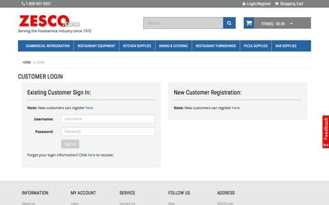 Screenshot of Login Page zesco.com - Customer Login - captured Sept. 24, 2016
