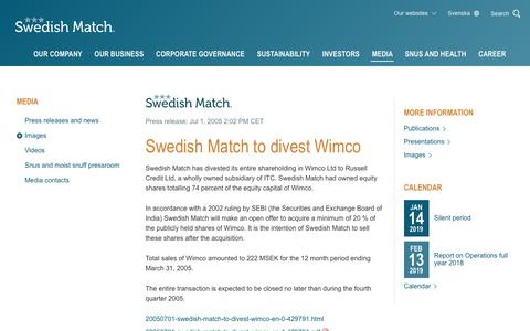 Screenshot of Press Page swedishmatch.com - Swedish Match - Swedish Match to divest Wimco - captured Nov. 1, 2018