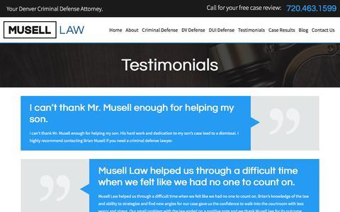 Screenshot of Testimonials Page metrodenvercriminaldefense.com - Testimonials | Denver Criminal Defense Attorney - captured Dec. 3, 2016
