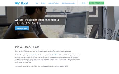 Screenshot of Jobs Page floatapp.com - Join our Team | Float Cash Flow Forecasting | Float - captured Aug. 31, 2016