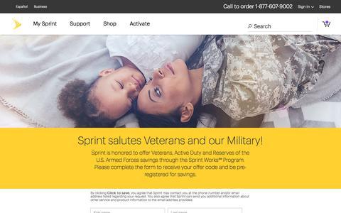 Screenshot of Landing Page sprint.com - Sprint Works Program for DOD-Military - captured Sept. 19, 2018