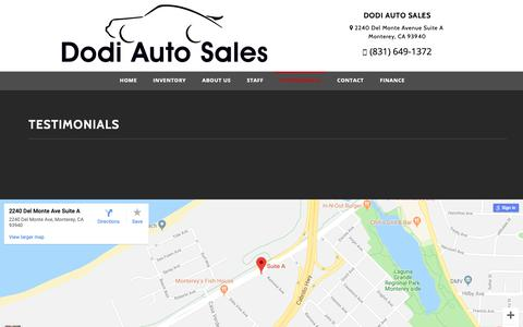 Screenshot of Testimonials Page dodiauto.com - Customer Testimonials - Dodi Auto Sales Monterey, CA - captured Oct. 18, 2018