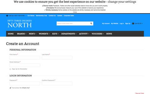 Screenshot of Signup Page 53degreesnorth.ie - Create New Customer Account - captured Oct. 9, 2014