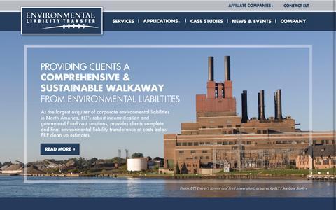 Screenshot of Home Page eltransfer.com - Environmental Liability Transfer | Environmental Liability Transfer - captured Sept. 3, 2015