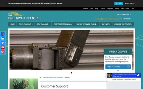 Screenshot of Support Page theunderwatercentre.com - Support, The Underwater Centre Fort William - captured Sept. 30, 2018