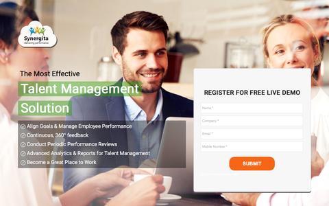 Screenshot of Landing Page synergita.com - Performance Management Software - captured Oct. 29, 2016