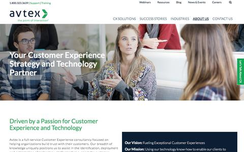 Screenshot of About Page avtex.com - About Avtex   CX Solution Experts - captured Oct. 15, 2017